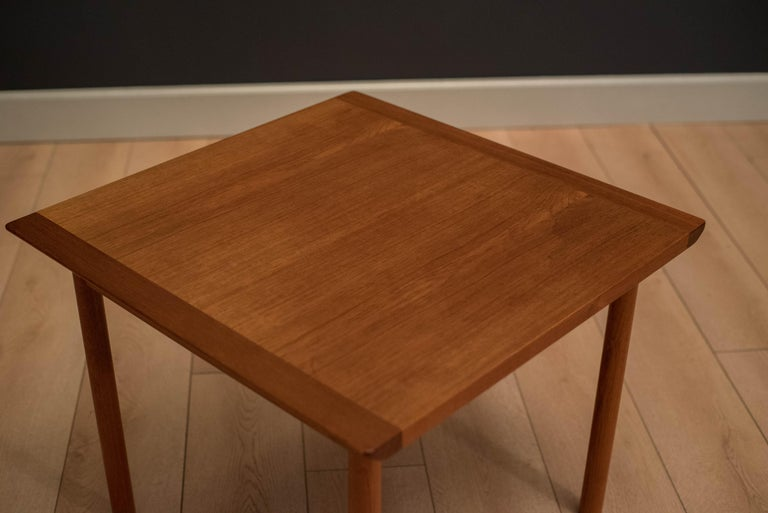 Vintage Scandinavian Teak Side Table by Westnofa In Good Condition For Sale In San Jose, CA