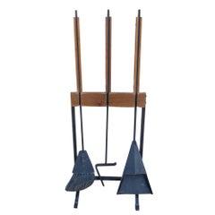 Vintage Scandinavian Teak Wrought Iron Fireplace Tools