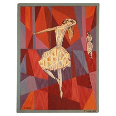 """Vintage Scandinavian """"the Dance"""" Tapestry by Lars Gynning for P.F Aubusson"""