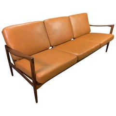 "Vintage Scandinavian Walnut & Leather ""Candidate"" Sofa by Kofod Larsen for OPE"