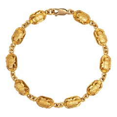 Vintage Scarab Beetle Bracelet 18k Yellow Gold Egyptian Jewelry Fine Renewal