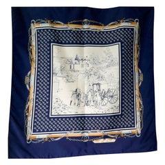 Vintage Scarf, Jean de Bahrein Scarf, 19th century Coaching Design
