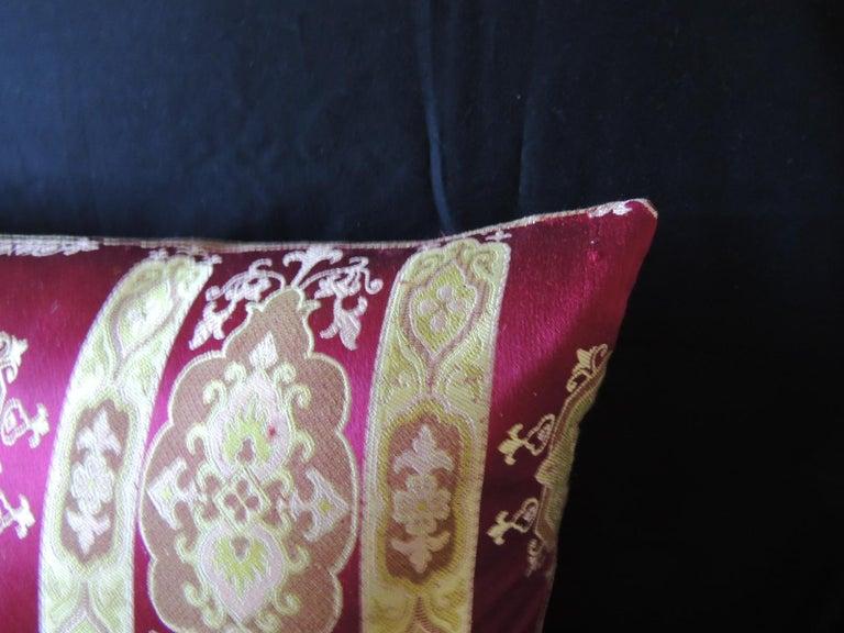 Hollywood Regency Vintage Scarlet Red and Gold Silk Brocade Bolster Decorative Pillow For Sale