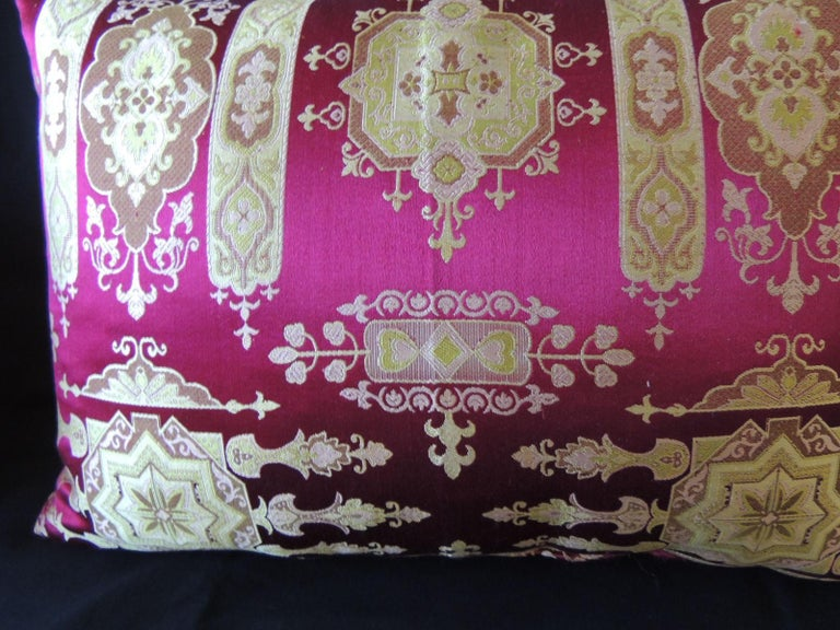 French Vintage Scarlet Red and Gold Silk Brocade Bolster Decorative Pillow For Sale