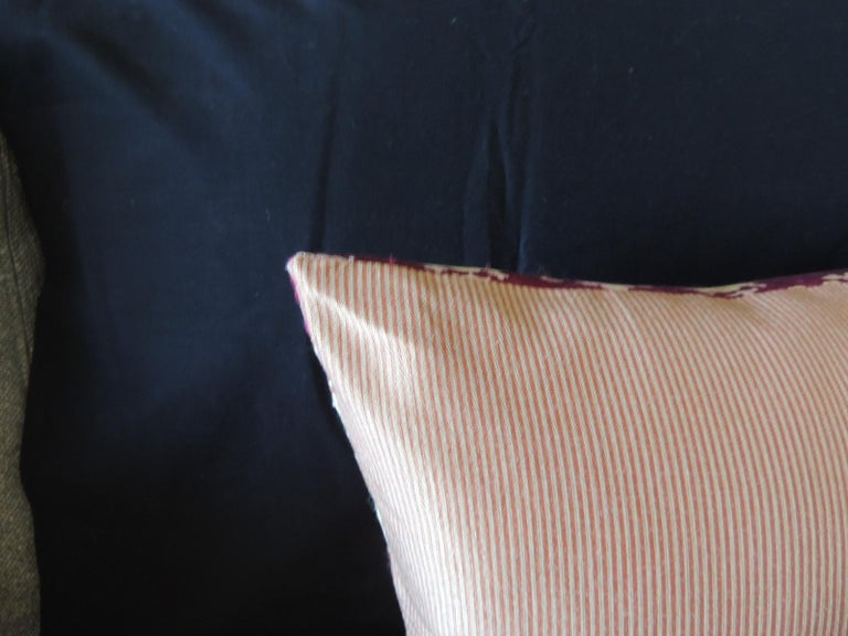 Hand-Crafted Vintage Scarlet Red and Gold Silk Brocade Bolster Decorative Pillow For Sale