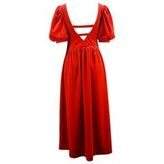 Vintage Scarlet Velour Velvet Deep Back Puff Sleeve Evening Dress, 1980s