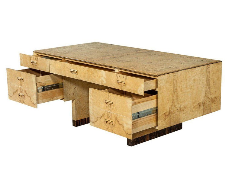 Burled Ash Executive Desk By Henredon