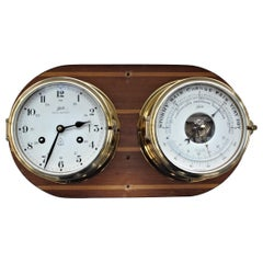 Vintage Schatz Brass Nautical Ship's Clock & Schatz Royal Mariner Barometer Set