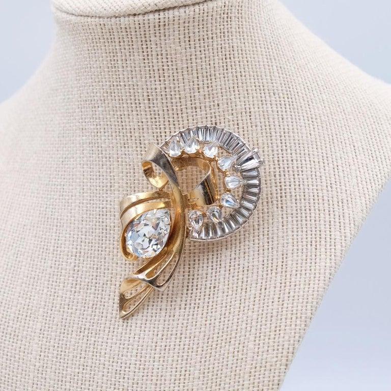 Period: 1940s Hallmark: Schiaparelli Condition: perfect Dimensions: H 2.75 Inch Materials: base metal, rhinestones, faux diamonds