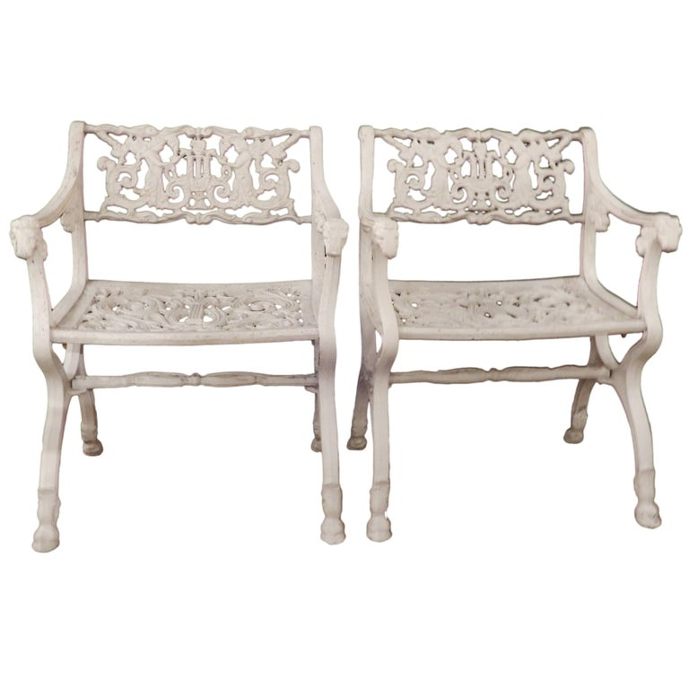 Vintage Sel Style Garden Chairs With Angels For