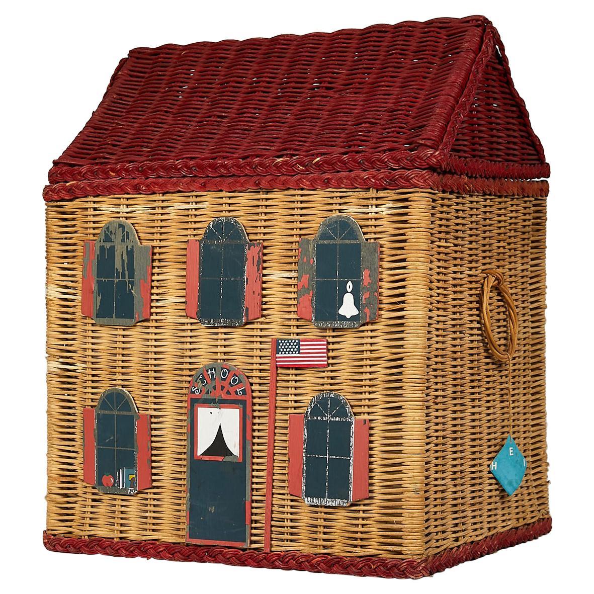 Vintage Schoolhouse Toy Box of Wicker