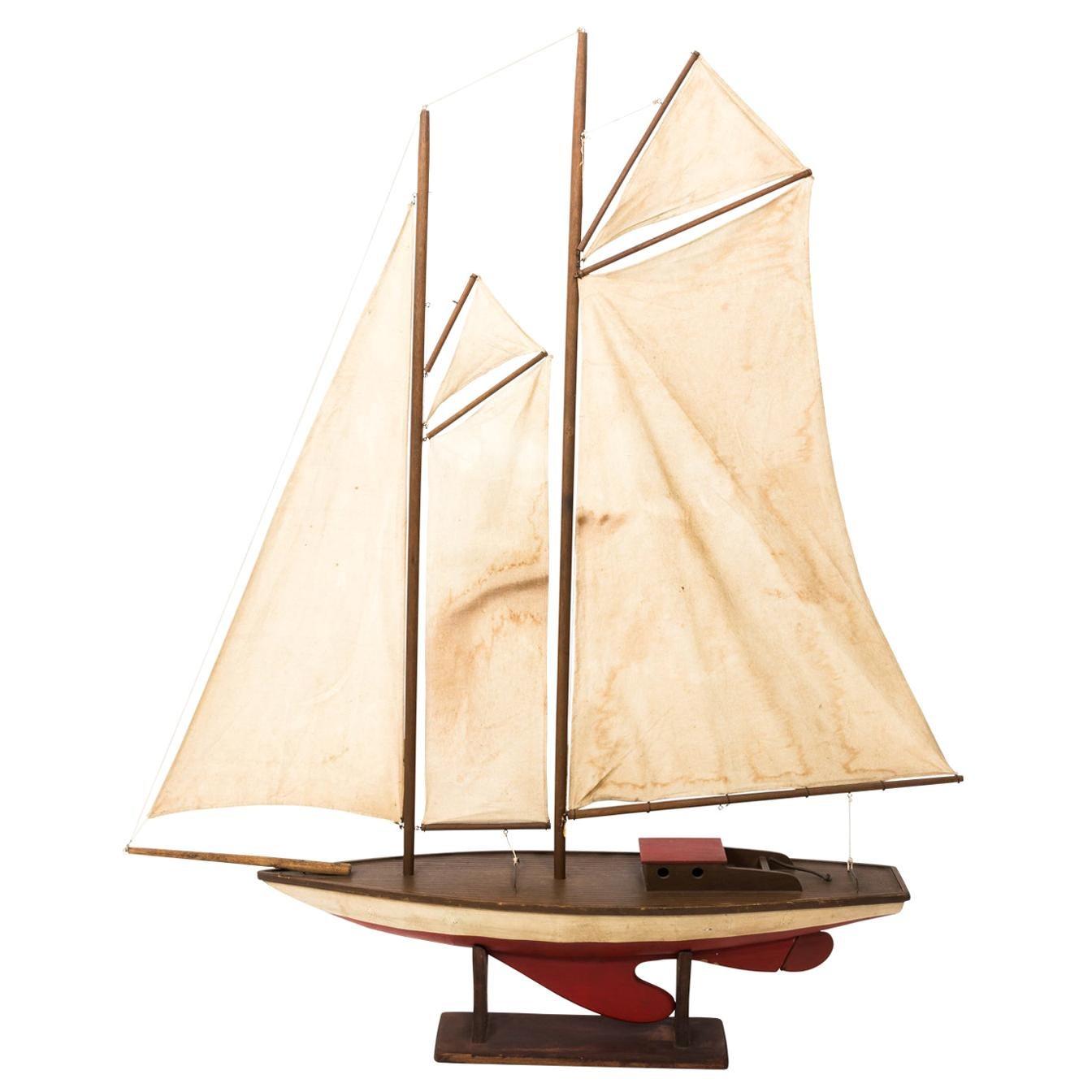 Vintage Schooner Sailboat Model, circa 1950s