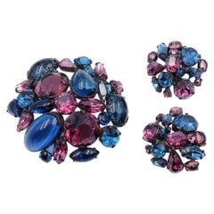 Vintage Schreiner Deep Blue Set brooch and Earrings