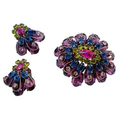 Vintage Schreiner Purple and Green Brooch and Earrings 1960's