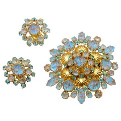 Vintage Schreiner Soft Blue Gold Brooch and Earrings 1960's