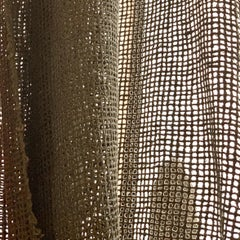 Vintage Schumacher Italian Raw Silk Natural Netting Lace Textile Fabric Deep Tan