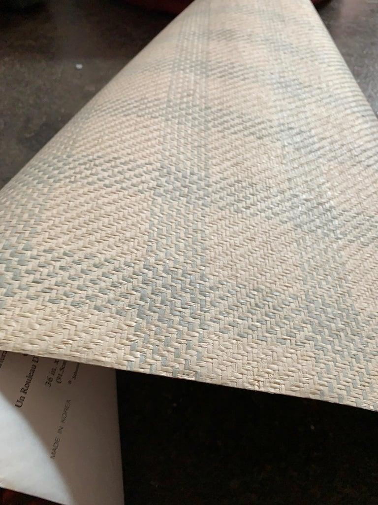 Organic Modern Vintage Schumacher Luxury Artisanal Textile Wall-Covering, Aqua Kusan Weave For Sale