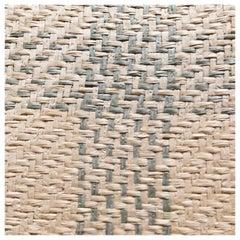 Vintage Schumacher Luxury Artisanal Textile Wall-Covering, Aqua Kusan Weave