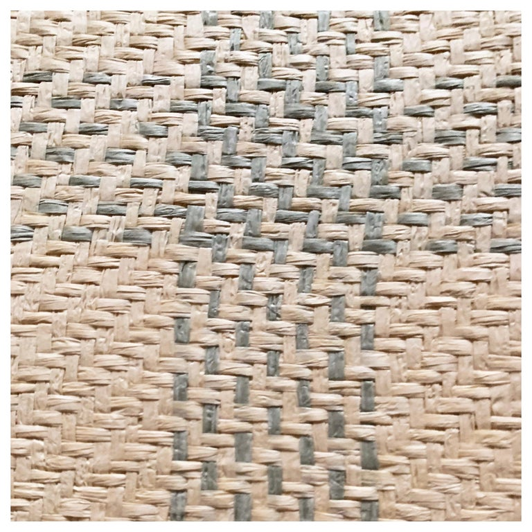 Vintage Schumacher Luxury Artisanal Textile Wall-Covering, Aqua Kusan Weave For Sale