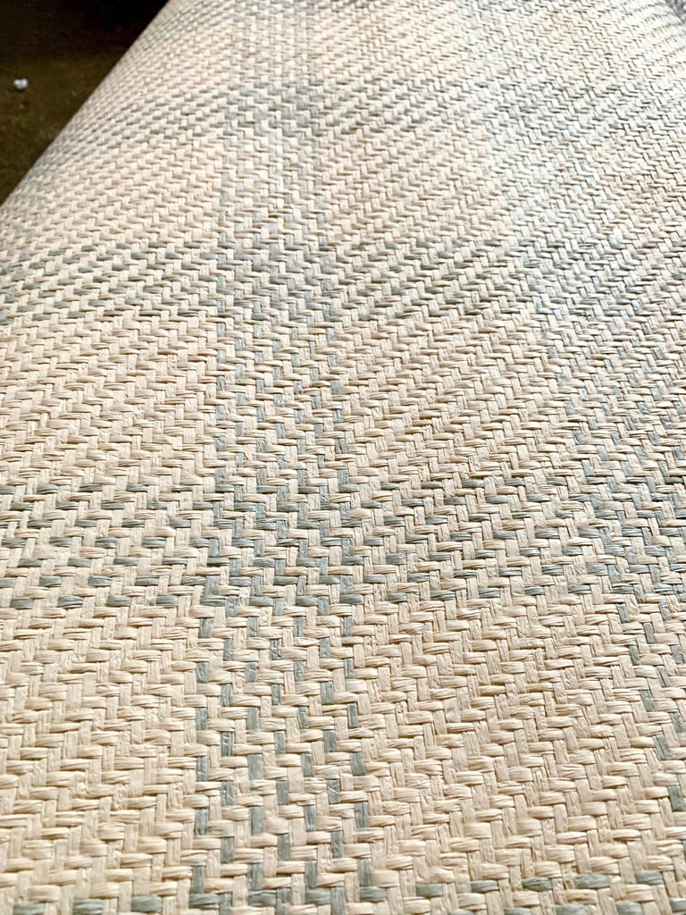 Vintage Schumacher luxury artisanal textile wallcovering, Aqua Kusan weave. Long discontinued, this gorgeous handcrafted textile wallcovering was priced at 250 USD per single roll and only available as a double roll at over 500 USD. Made in South