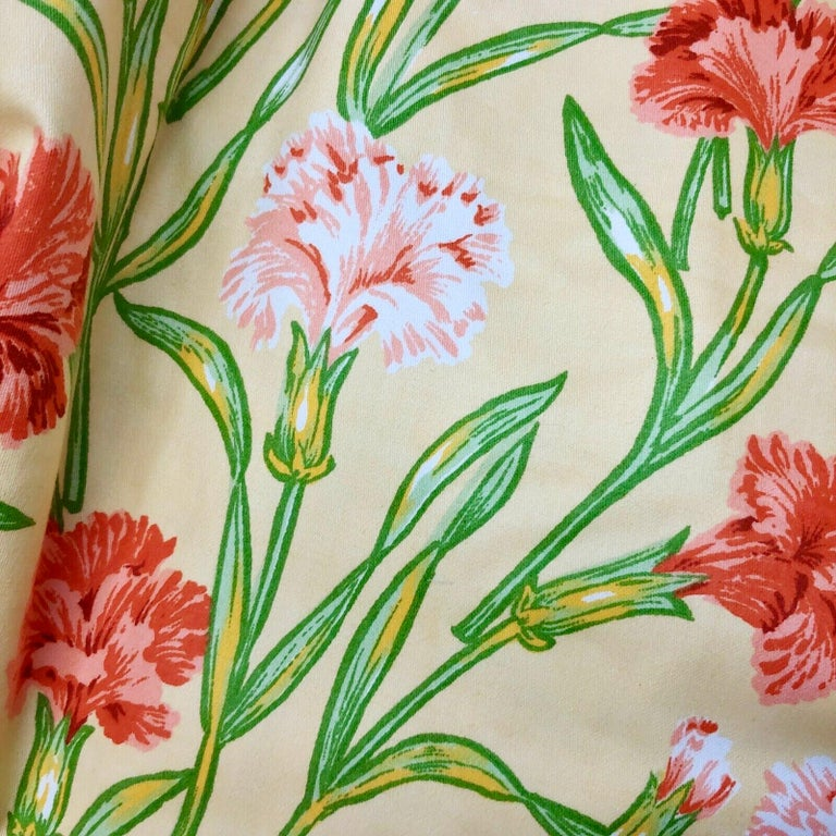 Neoclassical Revival Vintage Schumacher Waverley Carnations Hand-Printed Cotton Textile For Sale