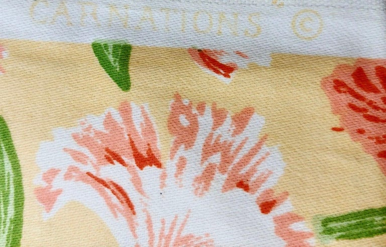 American Vintage Schumacher Waverley Carnations Hand-Printed Cotton Textile For Sale