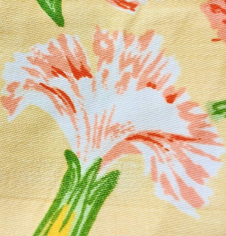 Vintage Schumacher Waverley Carnations Hand-Printed Cotton Textile In Good Condition For Sale In Brooklyn, NY