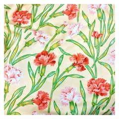 Vintage Schumacher Waverley Carnations Hand-Printed Cotton Textile