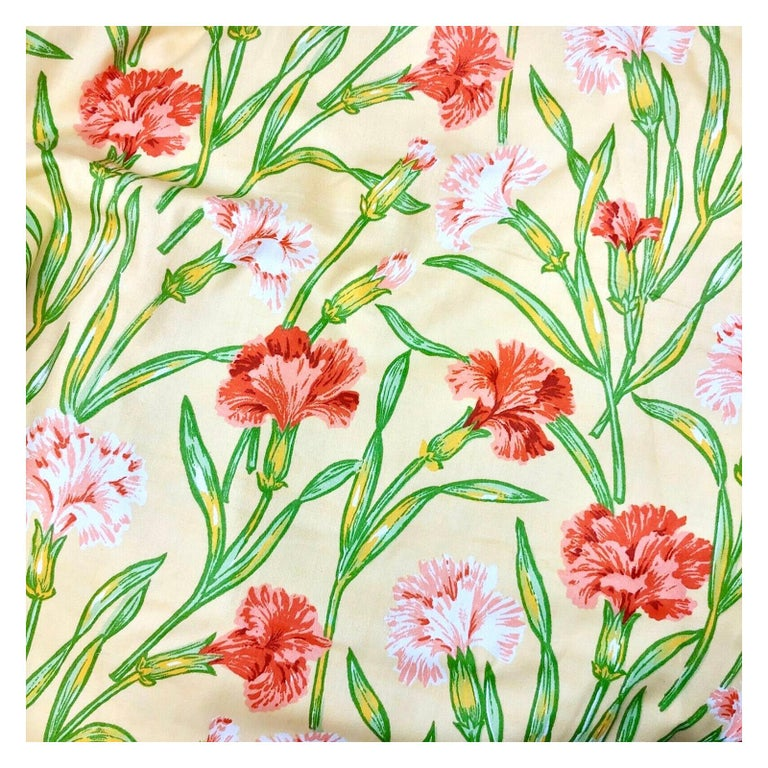 Vintage Schumacher Waverley Carnations Hand-Printed Cotton Textile For Sale