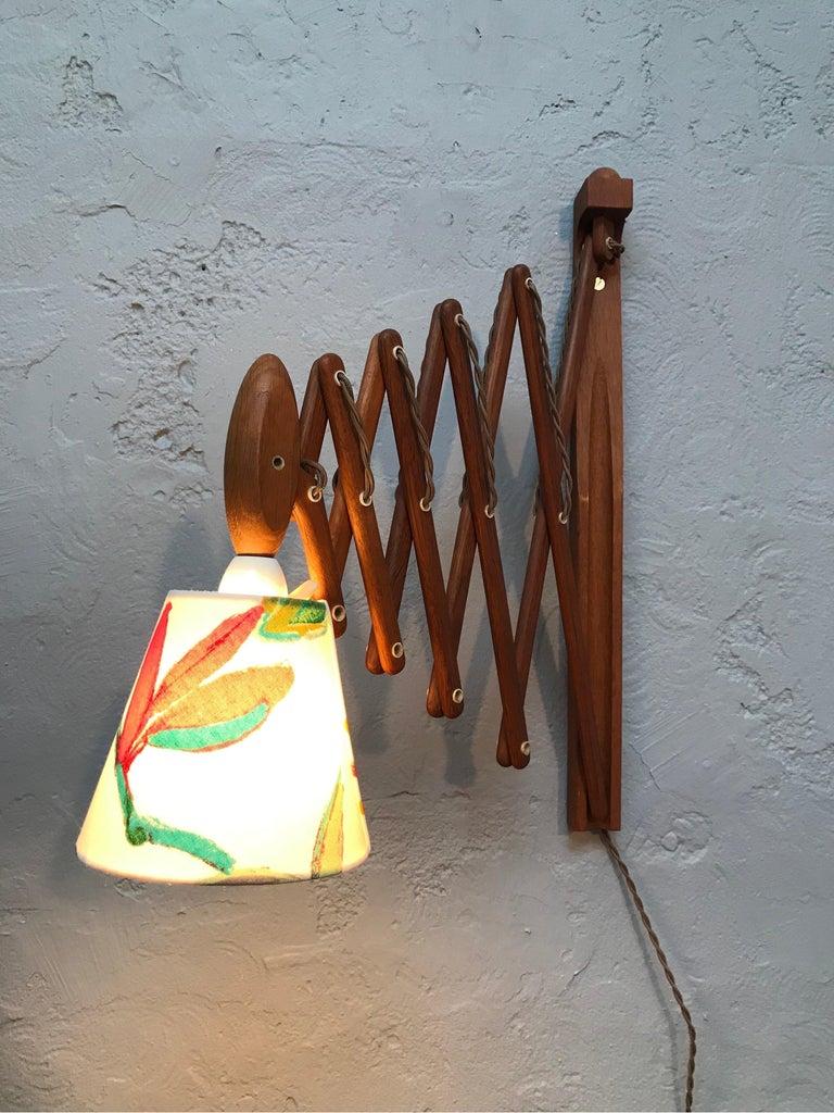 Mid-Century Modern Vintage Scissor Lamp in Teak from the 1960s by Erik Hansen for Le Klint For Sale