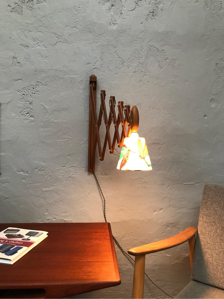 Hand-Crafted Vintage Scissor Lamp in Teak from the 1960s by Erik Hansen for Le Klint For Sale