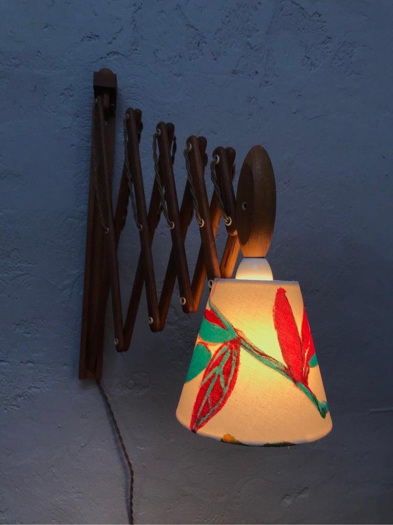 Mid-20th Century Vintage Scissor Lamp in Teak from the 1960s by Erik Hansen for Le Klint For Sale