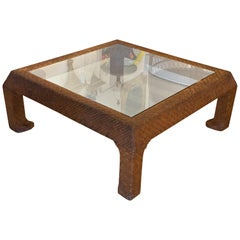 Vintage Scroll Ming Legs Coffee Cocktail Table Braided Leather Wicker Glass Top
