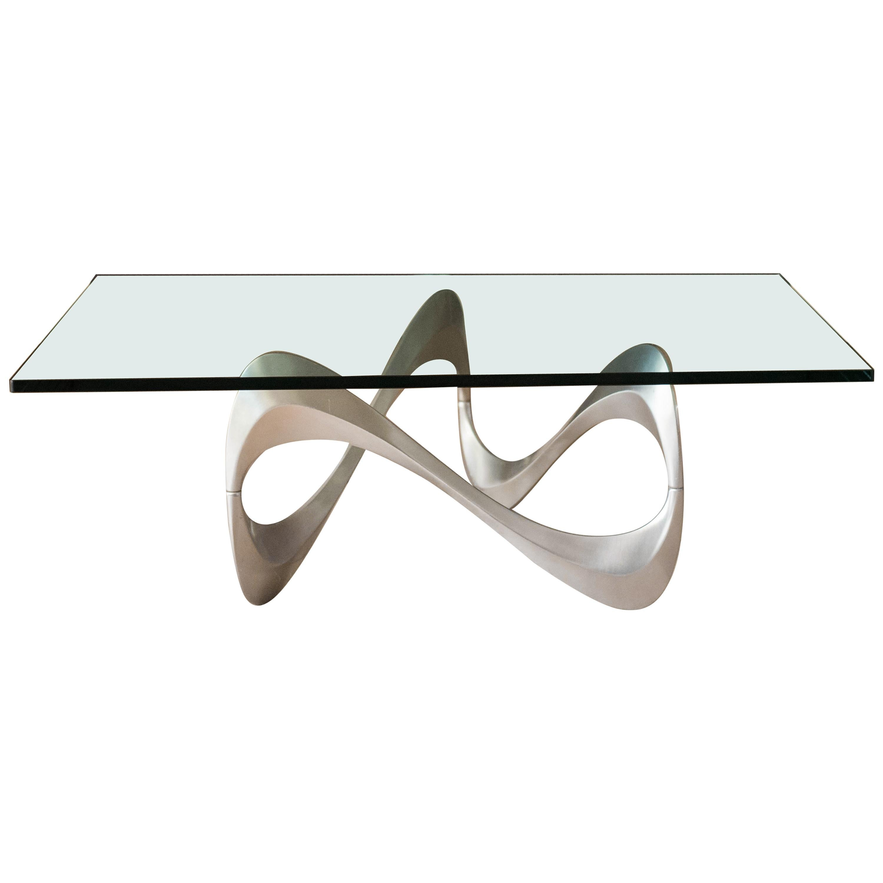 Vintage Sculptural Aluminum and Glass Coffee Table by Knut Hesterberg