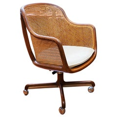 Vintage Sculptural Ash and Cane Desk Chair by Ward Bennett for Brickel Assoc.