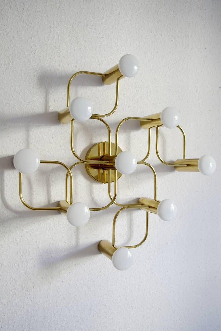 Minimalist Vintage Sculptural Ceiling or Wall Flush Mount Light Chandelier by Leola, 1960s For Sale