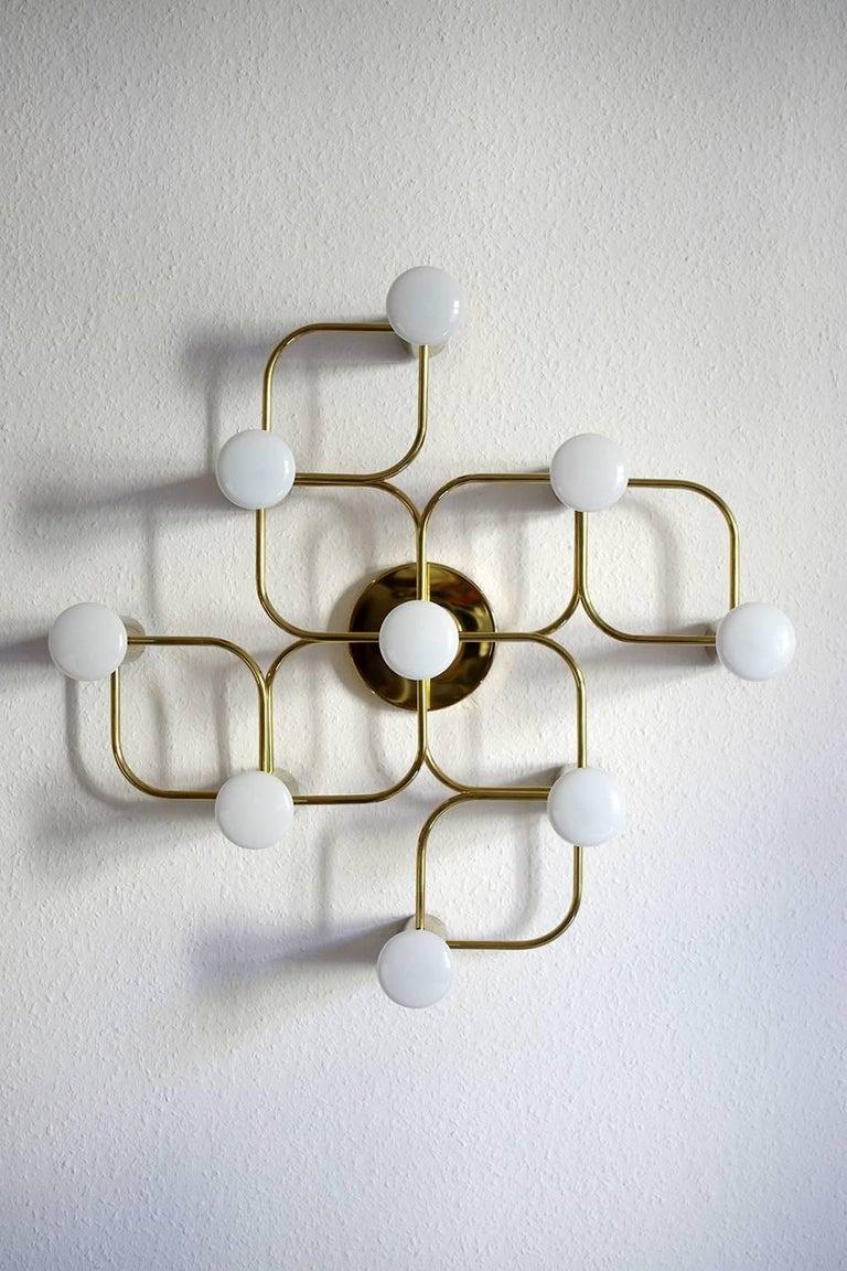 Brass Vintage Sculptural Ceiling or Wall Flush Mount Light Chandelier by Leola, 1960s For Sale