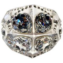 Vintage Sculptural Christian Dior Acrylic Diamante Statement Bracelet