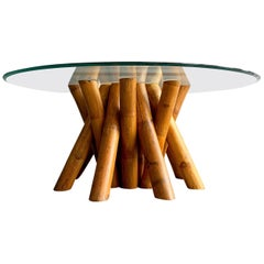 Vintage Sculptural Cluster Bamboo Rattan Cocktail Table by Antonio Budji Layug
