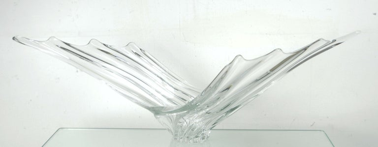 Mid-Century Modern Vintage Sculptural Crystal Vase by Art Vannes, French, 1950s For Sale
