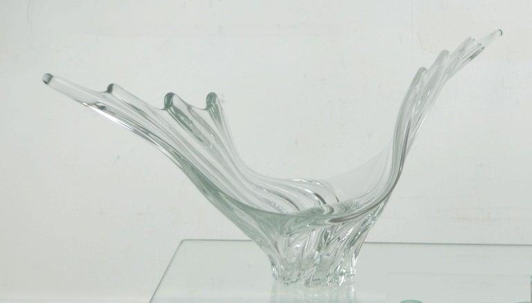 Other Vintage Sculptural Crystal Vase by Art Vannes, French, 1950s For Sale
