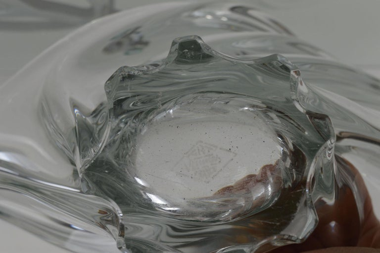 Mid-20th Century Vintage Sculptural Crystal Vase by Art Vannes, French, 1950s For Sale