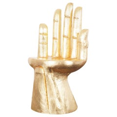 Vintage Sculptural Gold Leaf Hand Chair after Pedro Friedeberg