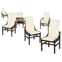 Vintage Sculptural Henredon Dining Chair Set of 6, Walnut Java Base, Brass