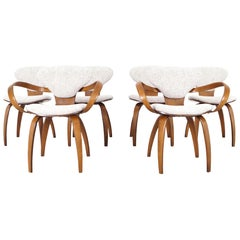 "Vintage Sculptural ""Pretzel"" Dining Chairs by Norman Cherner for Plycraft"