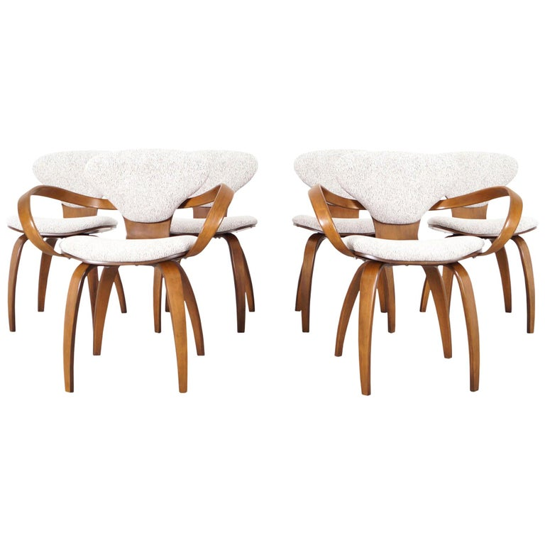 "Vintage Sculptural ""Pretzel"" Dining Chairs by Norman Cherner for Plycraft For Sale"