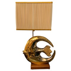 Vintage Sculpture Fish Table Lamp Golden Ceramic with Mirror Effect, 1970s
