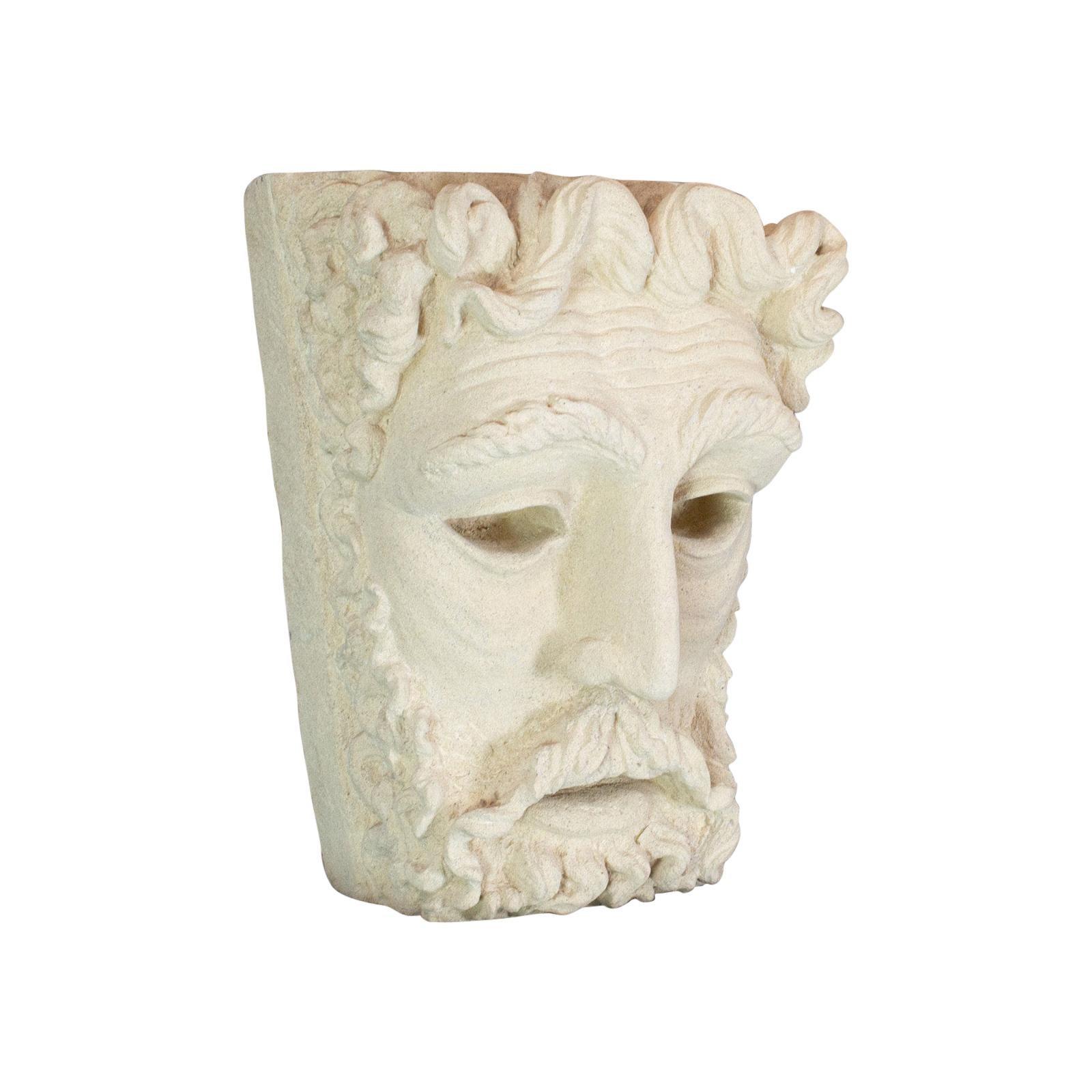 Vintage Sculpture, Poseidon, Dominic Hurley, English, Bath Stone, Greek God