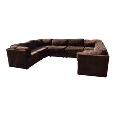 Vintage Sectional Pit Sofa by Kroehler Chocolate Brown Suede Like Fabric