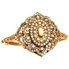 Vintage Seed Pearl Coral Cluster Bangle Bracelet 14 Karat